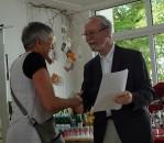 Barbara Seidl-Lampa und Martin Schmidt, Vorsitzender des Hoyerswerdaer Kunstvereins