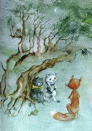 """Illustration von Jutta Mirtschin zum Märchen """"Die Füchsin und der Wolf"""" aus der Sammlung sorbischer Märchen """"Das goldene Gut""""."""