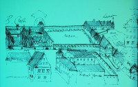 Bebauung des Taschenbergs in Dresden im 16. Jahrhundert. Rechts Schloss, hinten Kloster und Lehnshof.
