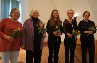 Matinee beim Hoyerswerdaer Kunstverein mit Petra Voigt (Oboe), Angela Ladeweig (Flöte). Sabine Kegel (Klarinette), Helene Schmidt und Barbara Kegel (Text). Von rechts.