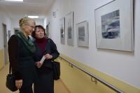 Ullrike Söhnel, rechts,  mit Britta Kayser in einer Ausstellung von Gudrun Otto im Seenland Klinikum 2017.