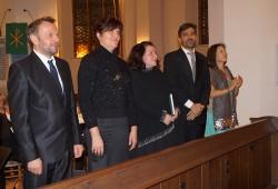 Die Solisten, von links: Hardy Brachmann, Kerstin Domrös, Christiane Gebhardt, Florian Hartfiel, Mi-Seon Kim