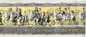 Die Wettiner vom Dresdener Fürstenzug (Ausschnitt), Bild Mitte August der Starke