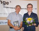 Oliver Bottini und Mirko Schwanitz zur Lesung beim Hoyerswerdaer Kunstverein 2019, von links.