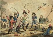 Satire auf Napoleon, der zum Kreisel der Siegermächte wird, allein Sachsen König, Friedrich August III./I. hält noch an einem Stiefel Napoleons fest.