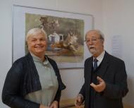 Dipl.-Med. Michaela Stöckel und Martin Schmidt zur Vernissage der Ausstellung Harald Metzke: Aquarelle und Radierungen