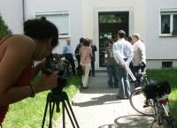 Die Spaziergänge beginnen am ehemaligen Wohnhaus von Brigitte Reimann in der Lieselotte-Herrmann-Str. 20