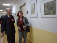 Ullrike Söhnel zur Vernissage ihrer Ausstellung im Hoyerswerdaer Seenland.Klinikum, mit Martin Schmidt.
