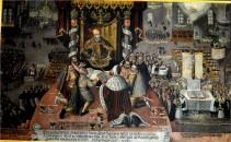 1530 Übergabe der Confessio Augustana an Karl IV. Ein Historienbild, welches in vielen Abwandlungen in den Kirchen noch immer zu finden ist. Diese Bild befindet sich in der  Kirche St. Johannis zu Schweinfurt.