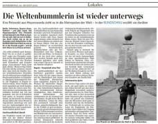 Kira Potowski berichtet aus Südamerika, Lausitzer Rundschau vom 23.August 2012